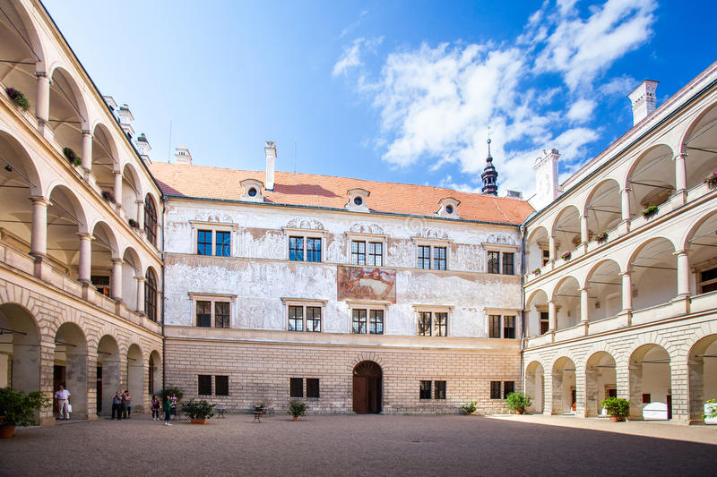 Palace in Litomysl, Czech Republic. LITOMYSL, CZECH REPUBLIC - AUGUST 14, 2012:Renaissance arcaded palace decorated with sgraffito. UNESCO World Heritage Site stock image