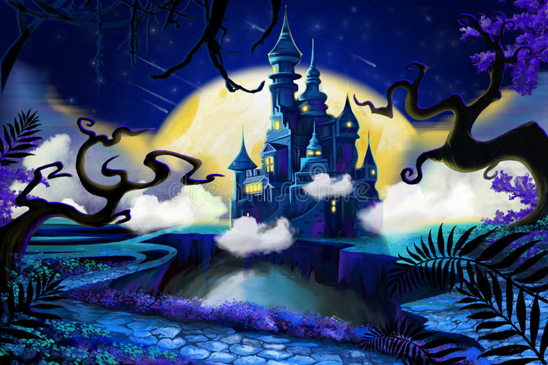 Palace at Night. Video Game's Digital CG Artwork, Concept Illustration, Realistic Cartoon Style Background royalty free illustration