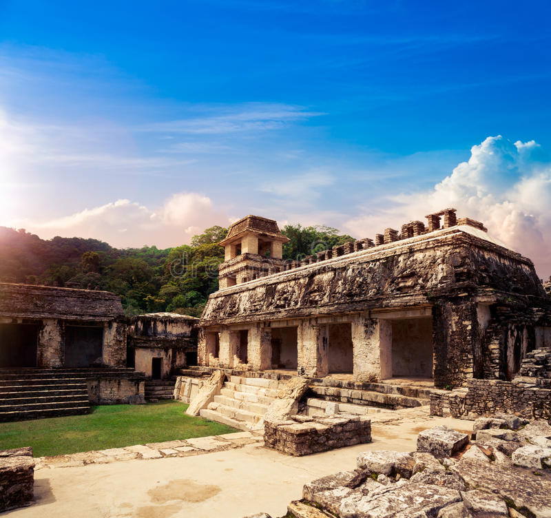 The Palace observation tower in Palenque, Maya city in Chiapas, Mexico royalty free stock image