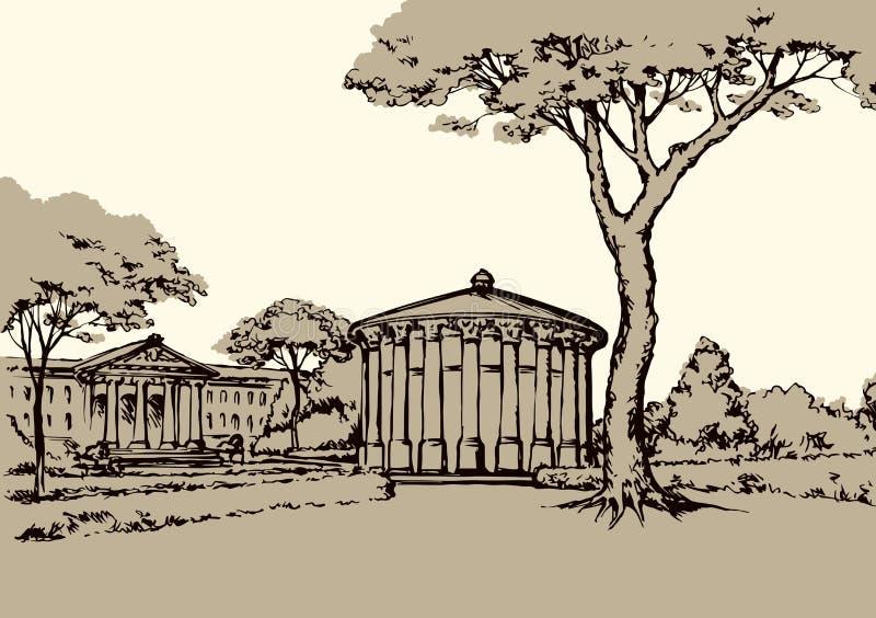 Palace Park. Vector drawing vector illustration