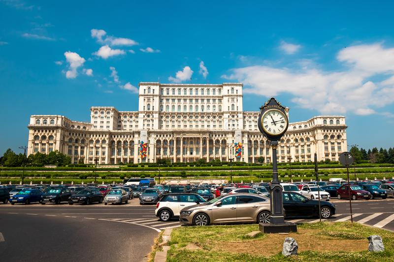 Palace of the Parliament in Bucharest, capital of Romania stock photo