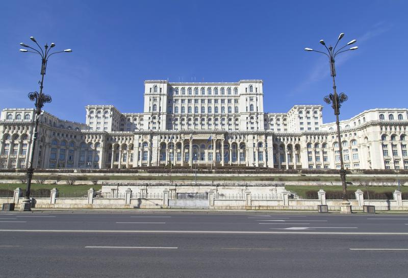 Palace of the Parliament. BUCHAREST, ROMANIA - MARCH 7, 2017: Palace of the Parliament which was started under Communist leader, Nicolae Ceausescu and is one of royalty free stock images