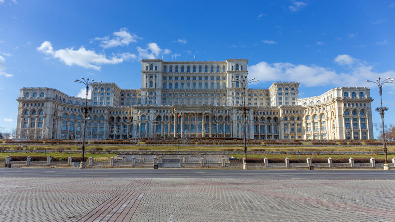 Palace of the Parliament, Bucharest, Romania. The Palace of the Parliament is the seat of the Parliament of Romania. Located on Dealul Arsenalului in central royalty free stock image
