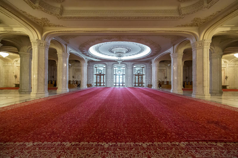 Palace of the Parliament hallway royalty free stock photography