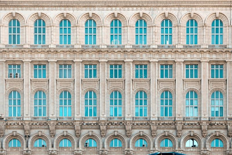 Palace of Parliament, House of People Bucharest Romania. Detail of the western facade of Palace of Parliament formerly known as The House of People under the stock photos