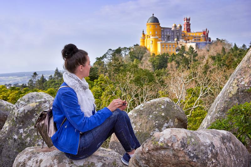 Palace of Pena, Woman traveler in Sintra, Lisboa royalty free stock photos