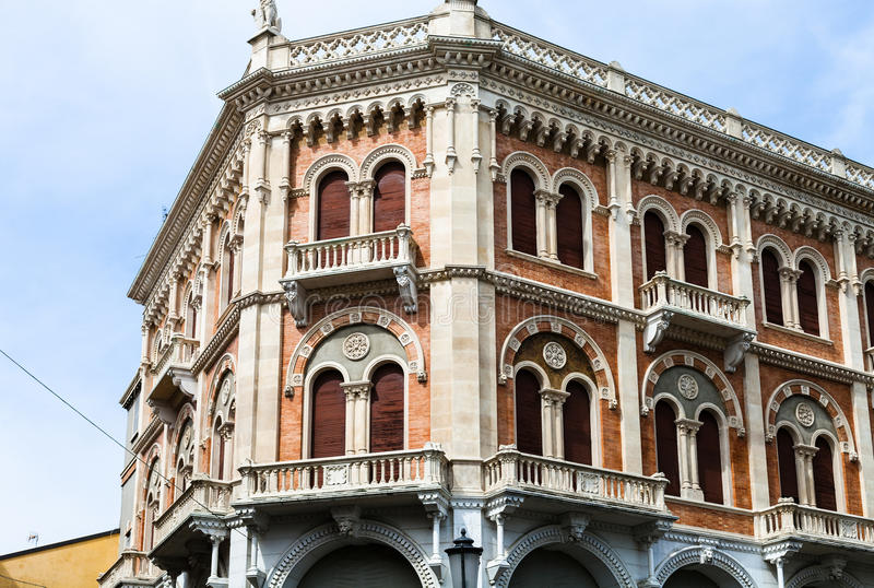 Palace on Piazza delle Erbe in Padua. Travel to Italy - palace on Piazza delle Erbe in Padua city in spring stock photo