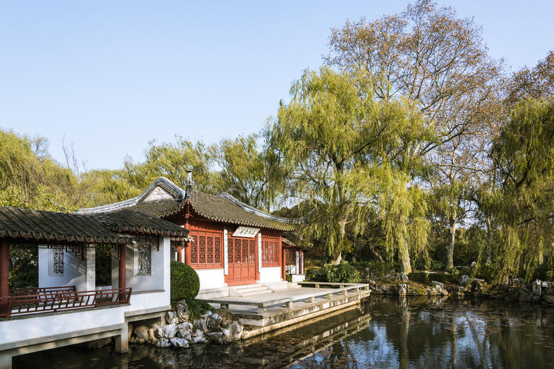 Palace and pond. In The art world of Red Mansions , Ming Xiaoling Tomb , Nanjing city,Jiangsu province,china.Photo taken on:Nov 26th,2015 royalty free stock image