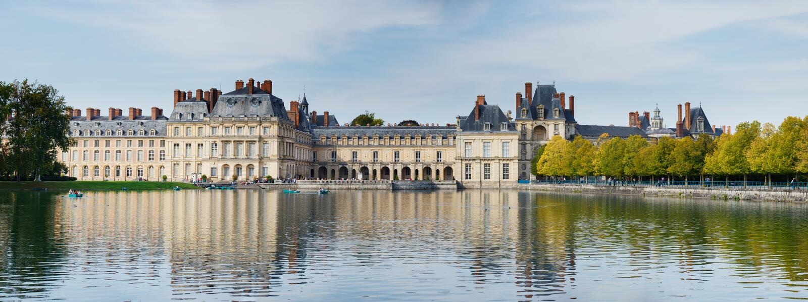 Palace And Pond In Fontainebleau. Panorama Old palace and pond in Fontainebleau France stock photography