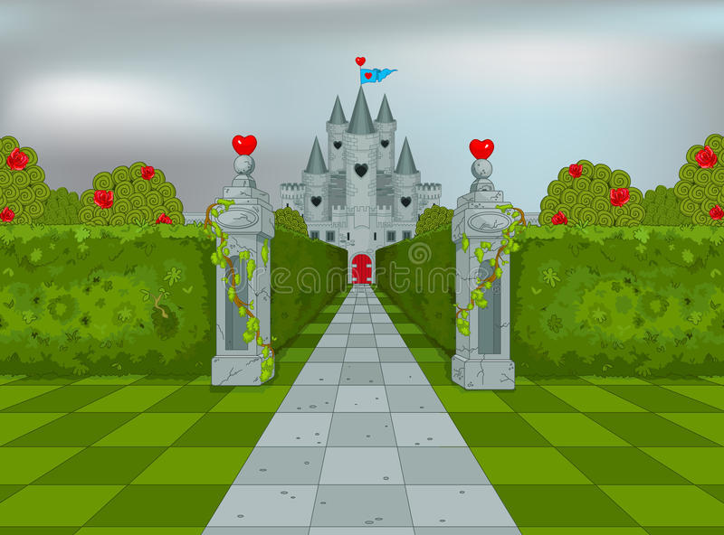 Palace of Queen of Hearts. In Wonderland vector illustration