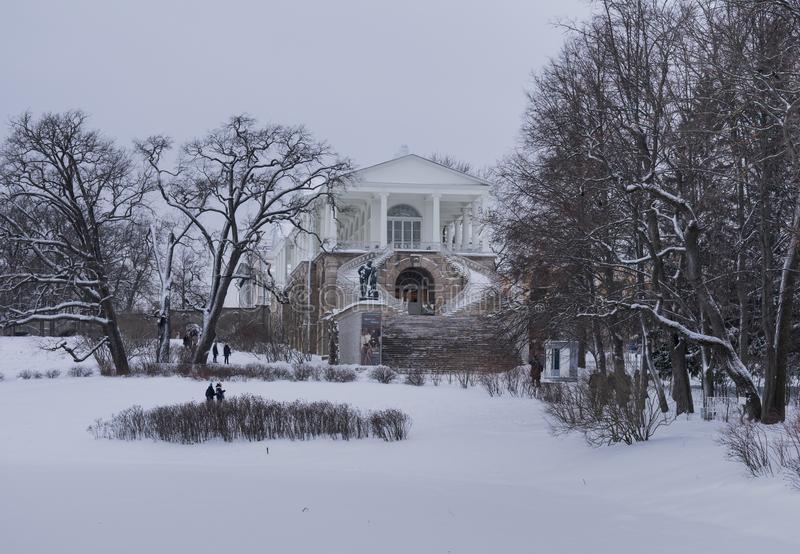 Palace Saint-Petersburg landscape winter day. Architecture hysterical building stock images