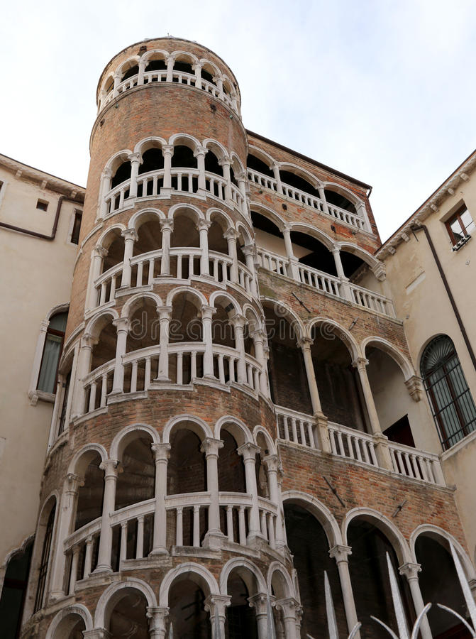 Palace with spiral staircase called Contarini del Bovolo Venice. Ancient palace with spiral staircase called Contarini del Bovolo Venice Italy royalty free stock photo