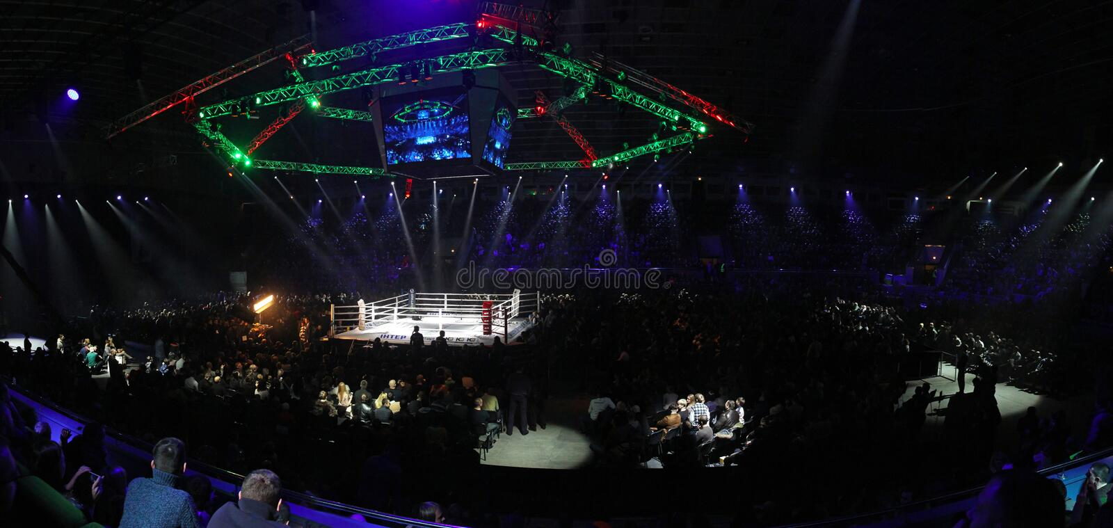 Palace of Sports in Kyiv during Evening of Boxing royalty free stock photos