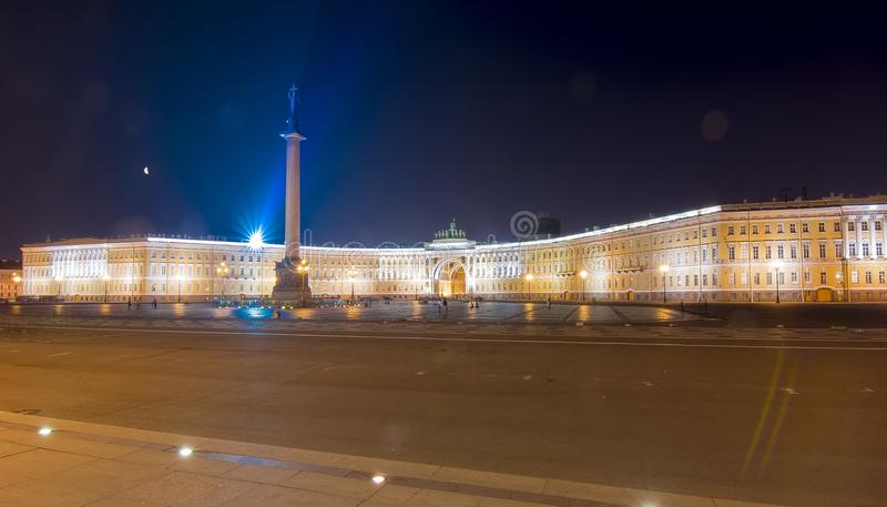Palace square and Alexander column at night, St Petersburg, Russia. Palace square and Alexander column at night, Saint Petersburg, Russia royalty free stock images
