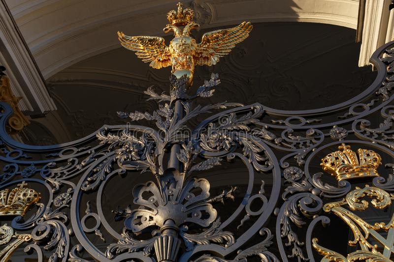 Palace square. Fragment of the gate of the Hermitage Museum in St. Petersburg. royalty free stock photos