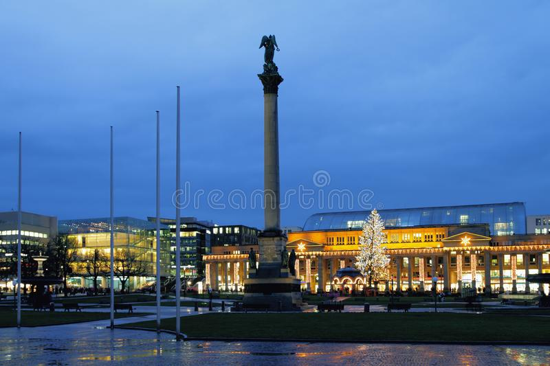 Palace Square in January evening. Stuttgart, Baden-Wurttemberg, Germany. 05-01-2018 royalty free stock images