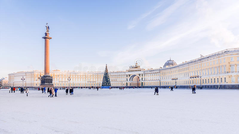Palace Square in St. Petersburg. General Staff building winter v. Iew stock photography