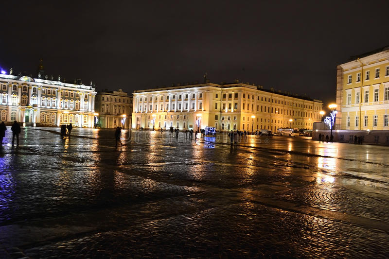 The Palace Square In St.Petersburg At Night Editorial Image