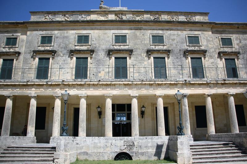 Palace of St. Michael and St. George in Corfu. Town, Greece. Built after 1819 by the British Lord High Commissioner of the Ionian Islands, later - after stock images