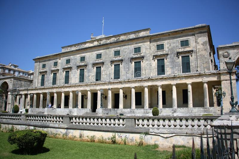 Palace of St. Michael and St. George in Corfu. Town, Greece. Built after 1819 by the British Lord High Commissioner of the Ionian Islands, later - after royalty free stock photo