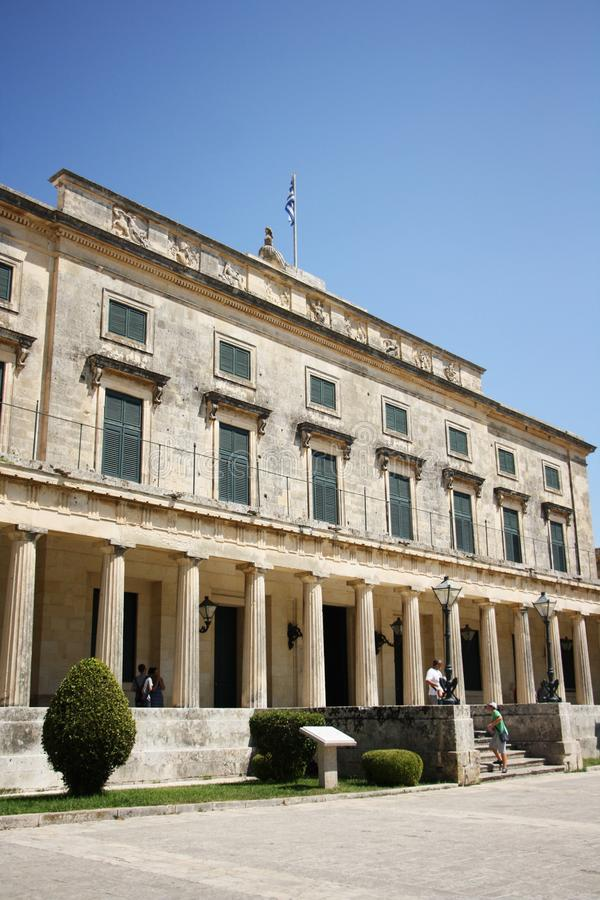 Palace of St. Michael and St. George in Corfu. Town, Greece. Built after 1819 by the British Lord High Commissioner of the Ionian Islands, later - after royalty free stock photography