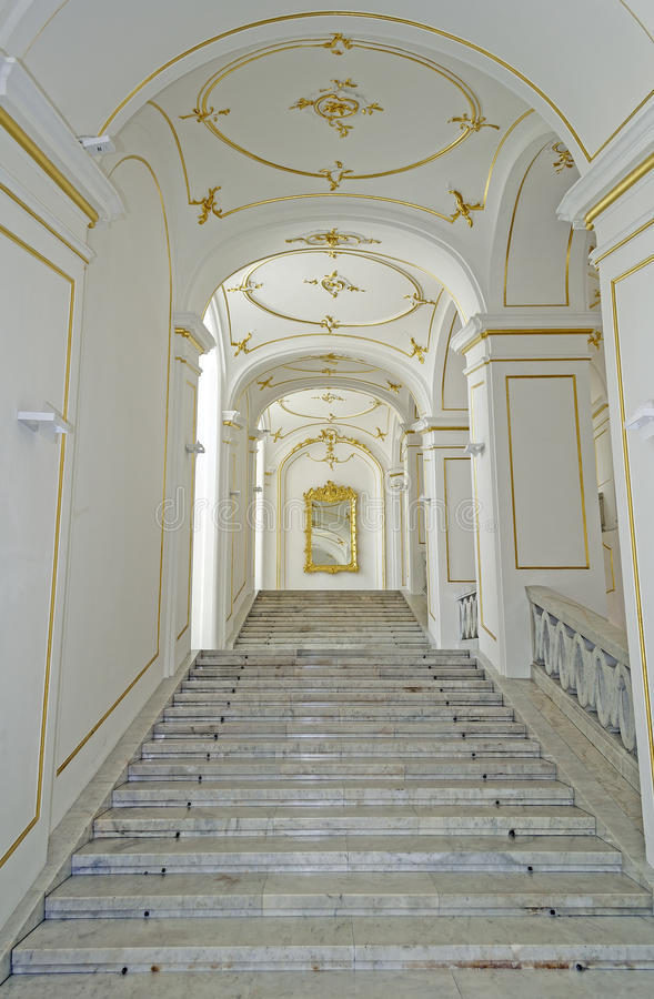Palace stair. Marbre palace staircase, indoors view stock photo
