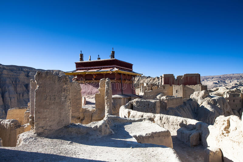 Palace on top of Guge ruins. In Tibet stock photos