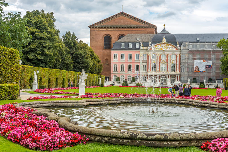 Palace of Trier with fountain stock photos