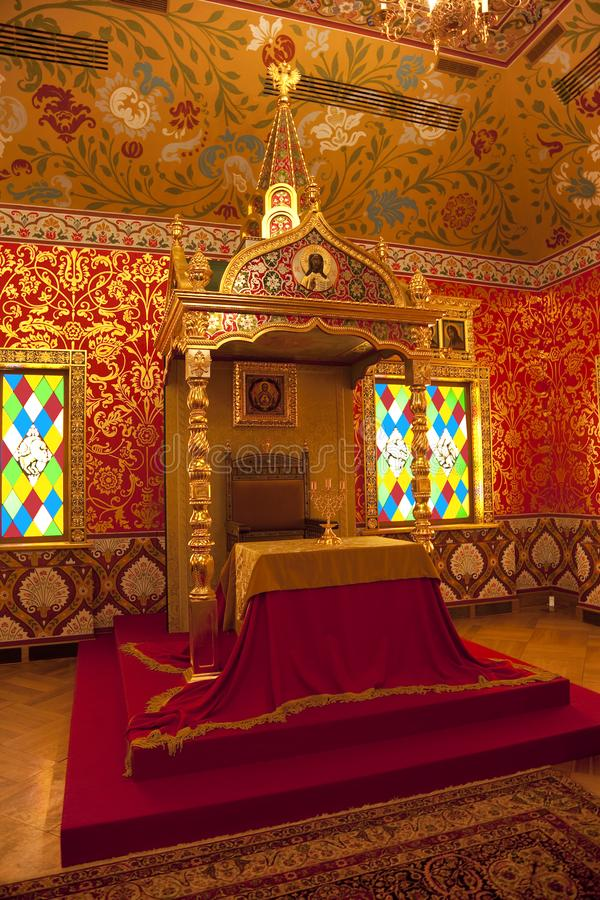 The Palace of Tsar Alexei Mikhailovich. The dining room, the king`s table and the throne. Interior. Tsaritsyno Museum-reserve, Mo royalty free stock photography