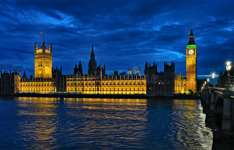 Palace of Westminster London England UK at night royalty free stock photo