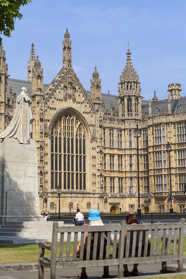 Palace of Westminster, parliament, facade, tourists, London, United Kingdom stock photography