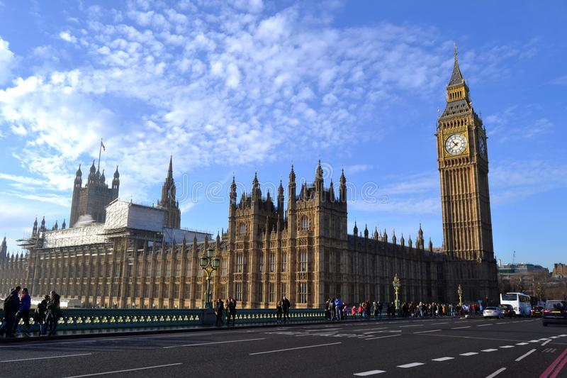 The Palace of Westminster on River Thames in London royalty free stock photography