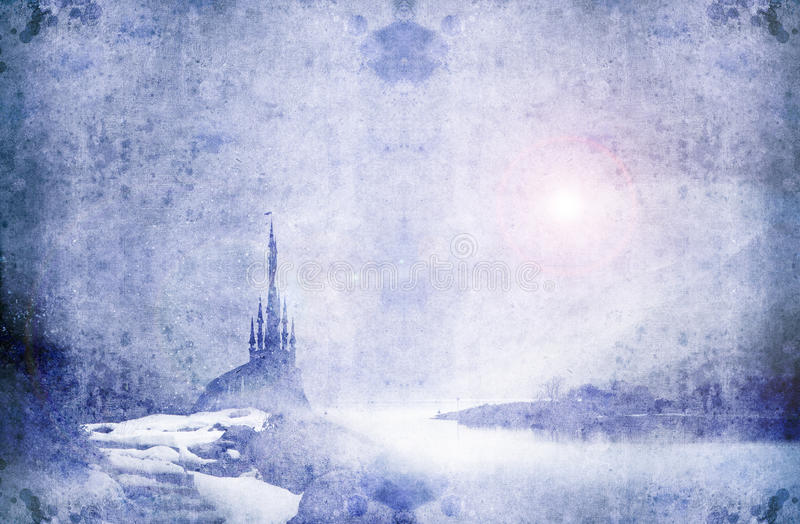 Palace wide. Mysterious ice palace next to frozen lake vector illustration