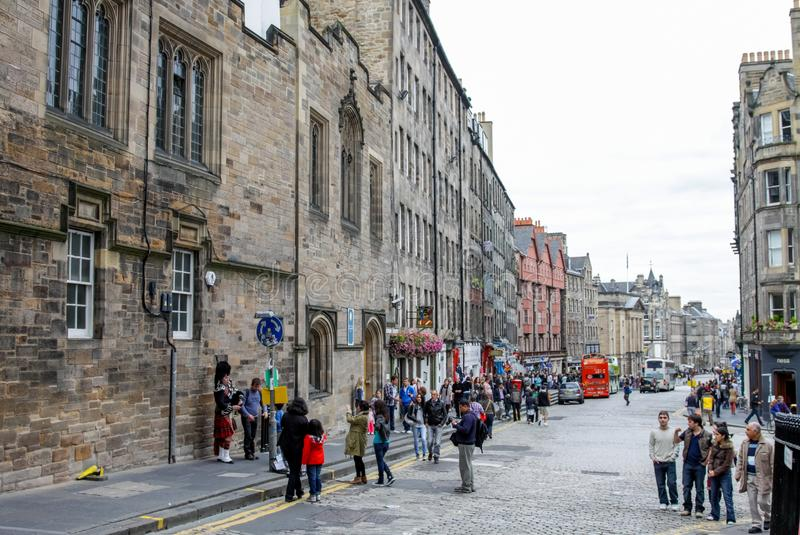 Palaces and castles of Edinburgh, the capital of Scotland. Old city. Streets and buildings of Edinburgh. stock photo