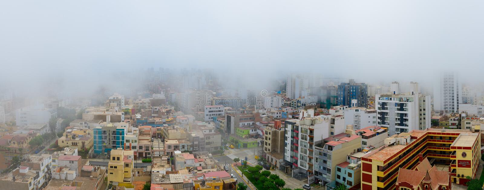 Palaces of the city of Lima capital of Peru immersed in the typical garùa fog.  royalty free stock photos