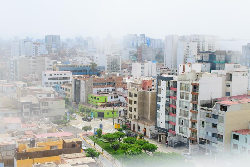 Palaces of the city of Lima capital of Peru  in the typical garùa fog.  stock image