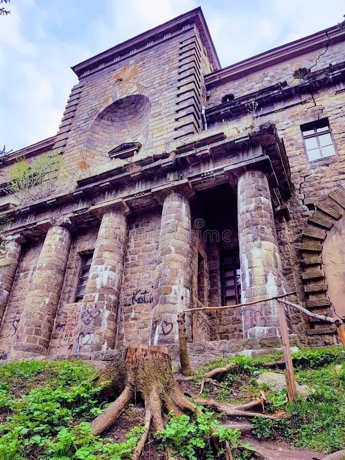 Palacio abandonado de Ksido en la ciudad de Hmilnyk, Ucrania foto de archivo