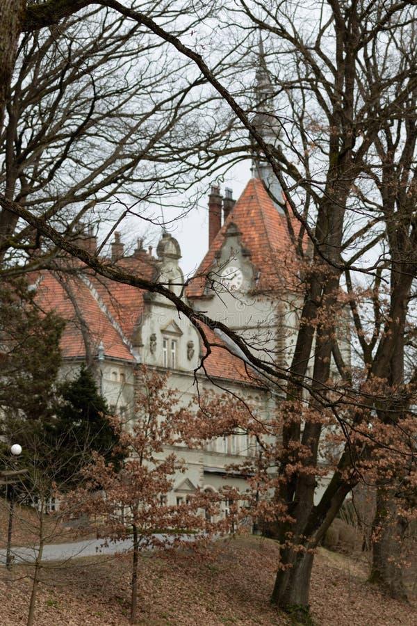 Palacio antiguo de Schoenborn en invierno Chynadiyevo, cerca de Mukacheve ucrania fotos de archivo libres de regalías
