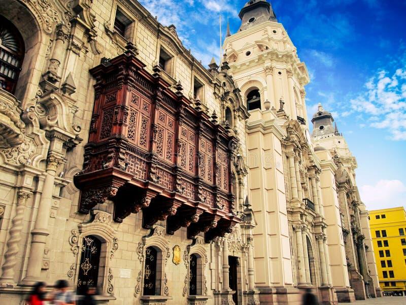 Palacio arzobispal de lima, plaza de armas, lima peru royalty free stock photography
