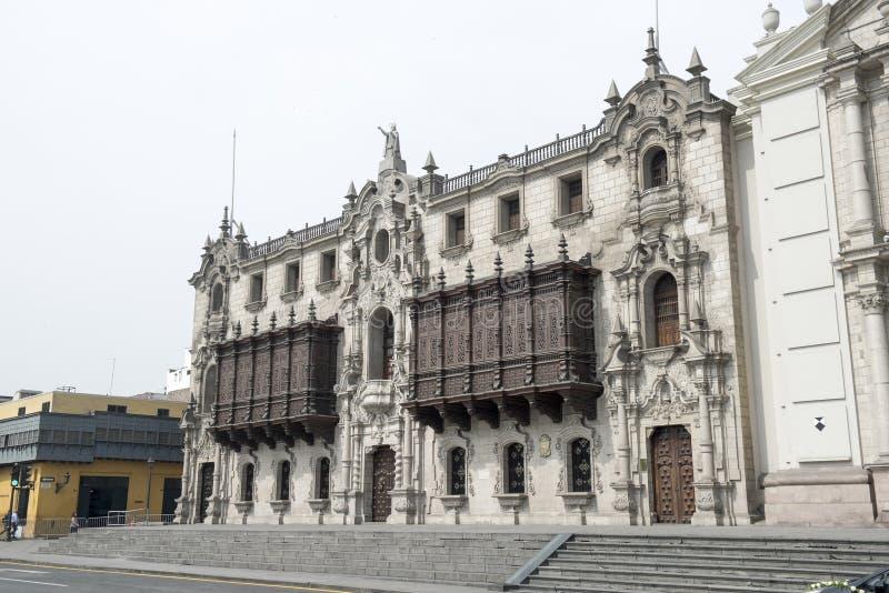 Palacio arzobispal de lima, plaza de armas, lima peru royalty free stock photo
