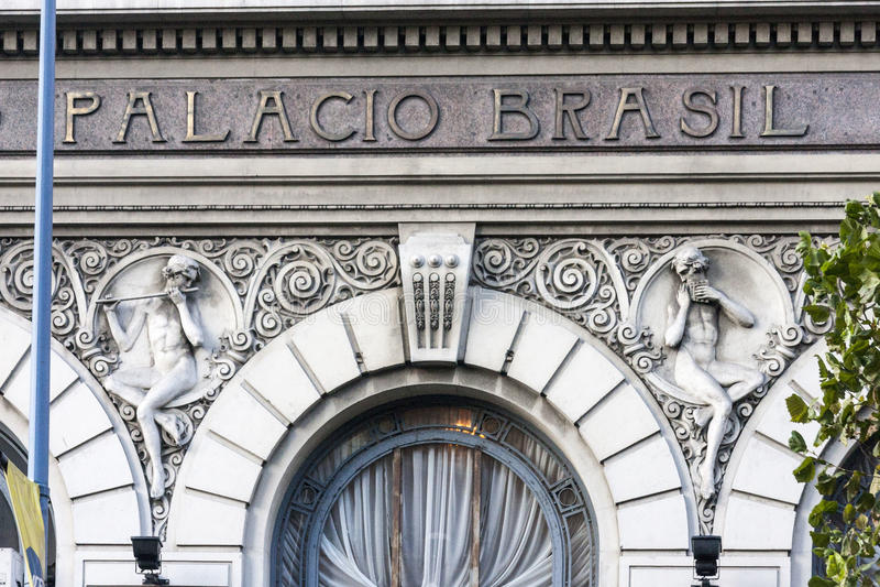 Palacio Brasil Montevideo de construção histórico fotos de stock