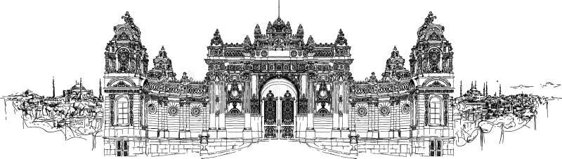 Palacio de alta resolución del dolmabahce del dibujo de la mano ilustración del vector
