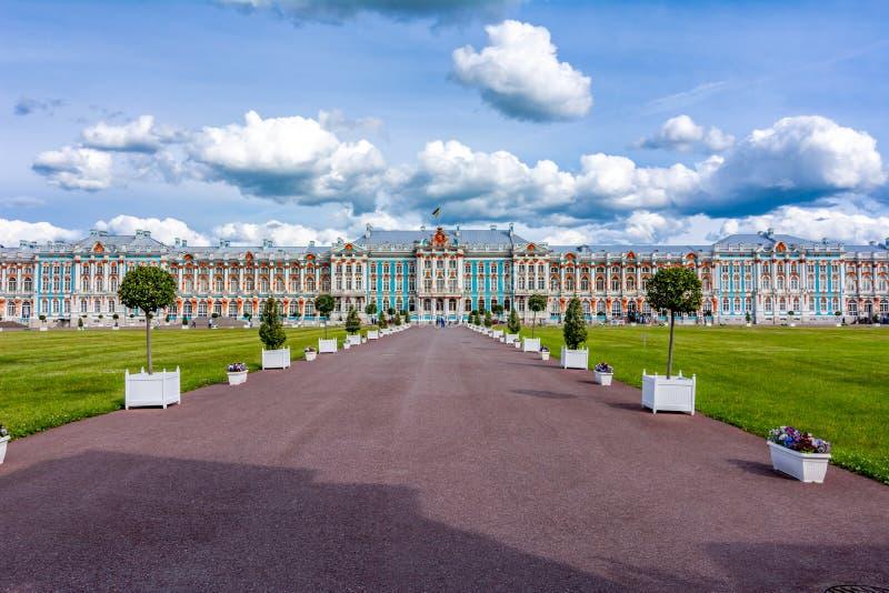 Palacio de Catherine en Tsarskoe Selo Pushkin, St Petersburg, Rusia imágenes de archivo libres de regalías