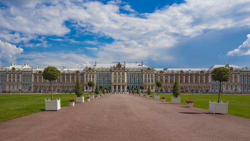 Palacio de Catherine localizado en la ciudad de Tsarskoye Selo Pushkin, St Petersburg, Rusia fotografía de archivo