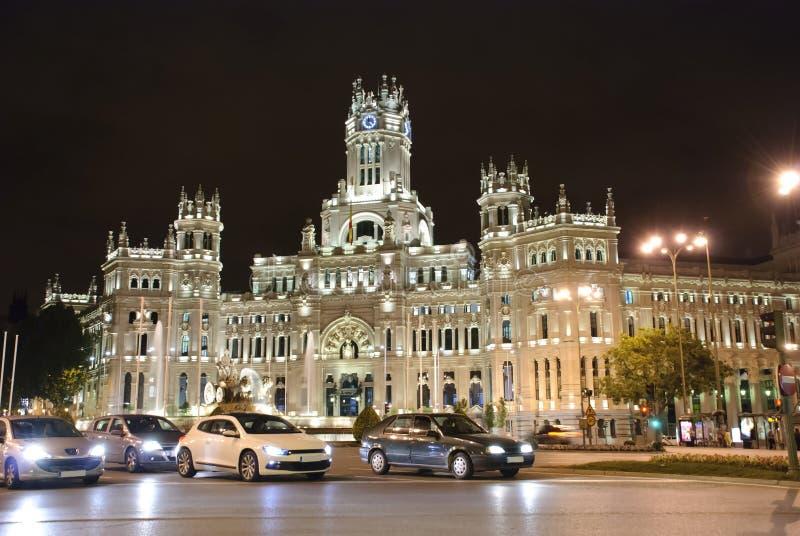 Palacio de Cibeles alla notte fotografie stock libere da diritti