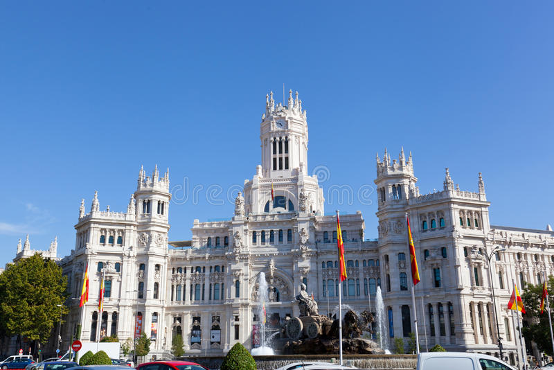 Palacio de Comunicaciones. Palace of communication — the most noticeable construction on the square of plaza de Cibeles in historic center of Madrid royalty free stock photo