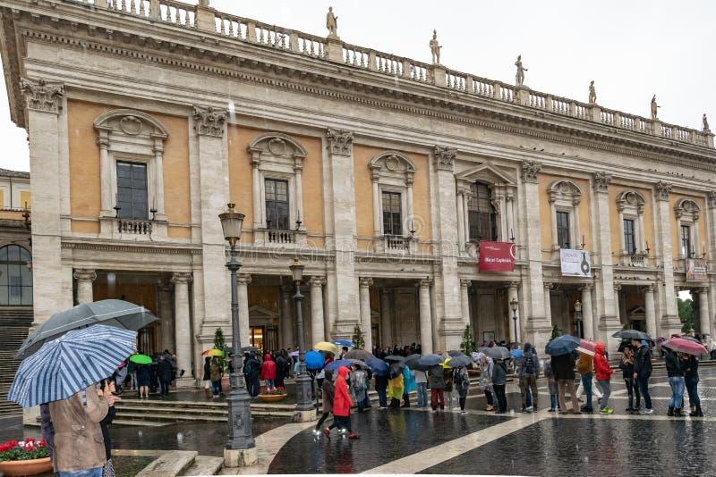 Palacio de Conservatori del dei de Palazzo de los conservadores en la plaza del Campidoglio Square, Roma foto de archivo libre de regalías