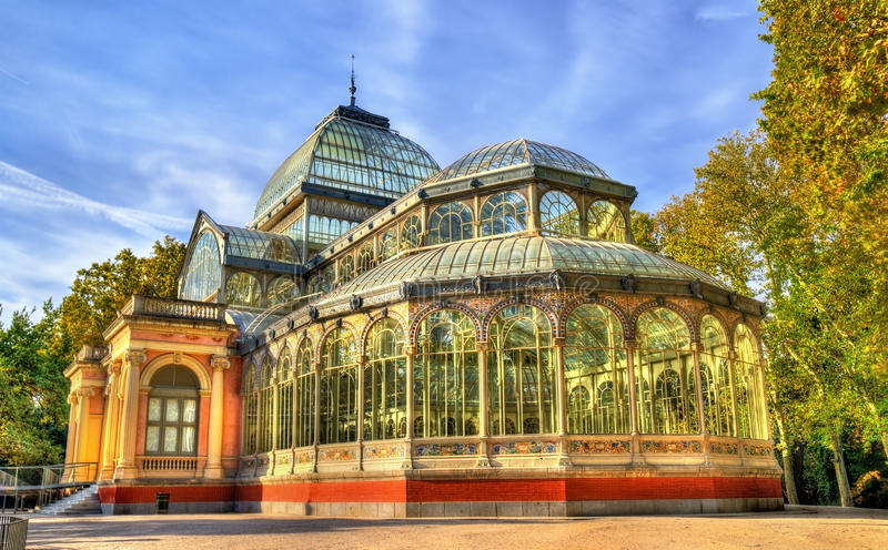 Palacio de Cristal in Buen Retiro Park - Madrid, Spain royalty free stock photos