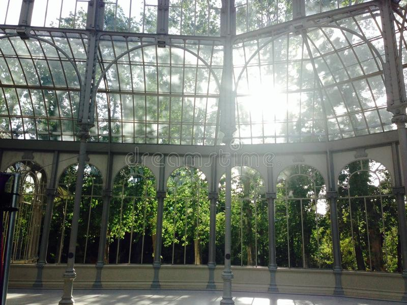 Palacio de Cristal (crystal palace) in retiro park madrid spain royalty free stock photos