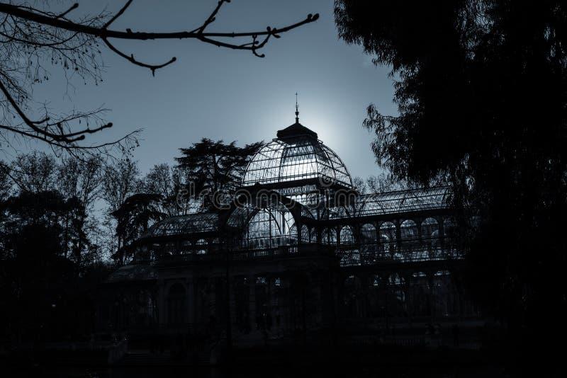 Palacio de Cristal, Parque del Buen Retiro, Madrid royaltyfri bild